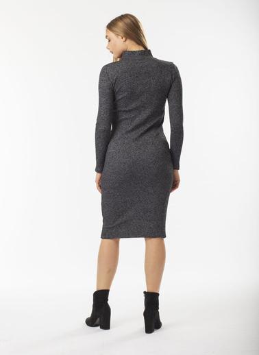 Stamina Yarım Balıkçı  V Açılımlı Fitilli Elbise Antrasit